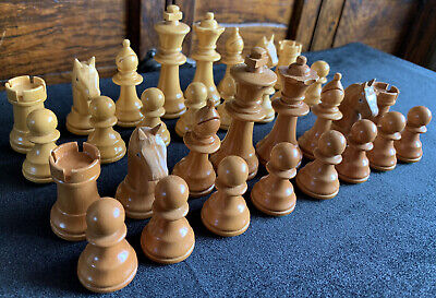 Vintage Boxwood Chess Set Boxed Complete • 15£