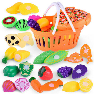 6-24pc Kids Pretend Role Play Kitchen Fruit Vegetable Food Toy Cutting Set Gift • 11.38£