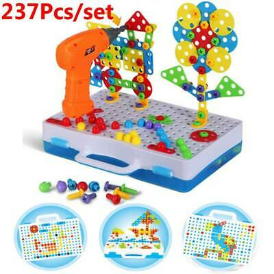 237Pcs Mosaic Electric Drill Puzzle Toy Set Kids Building Model Blocks Assembly • 19.85£
