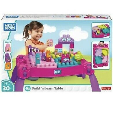 Mattel Mega Bloks Build'n Learn Table Pink 30 Pieces • 24.49£