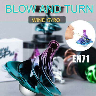 Whipping Top Toy Wind Gyro Wind Blow Turn Airflow Gyro Desktop Decompression UK • 5.75£