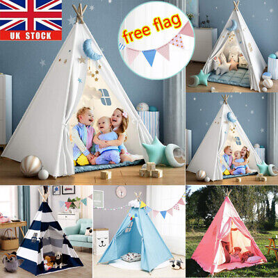 Cotton Canvas Kids Teepee Indian Tent Childrens Wigwam Indoor Outdoor Play House • 17.94£