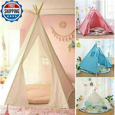 Large Canvas Kids Teepee Tent Children Wigwam Indoor Outdoor Play House Gift Toy • 21.58£