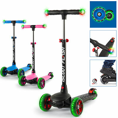 IScoot Flash Kids Scooter 3 Wheels With LED Light Up Wheels And Handlebars • 39.99£