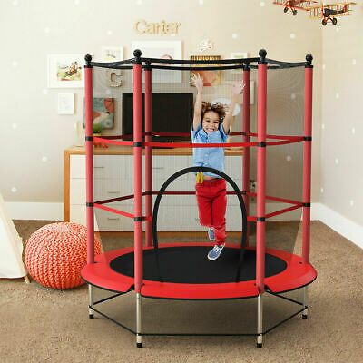 4.5FT Mini Trampoline Set With Enclosure Safety Net Outdoor Indoor Kids Toy Play • 63.52£