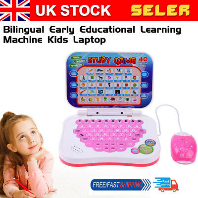 Bilingual Early Educational Learning Machine Kids Laptop Toys With Mouse • 8.76£