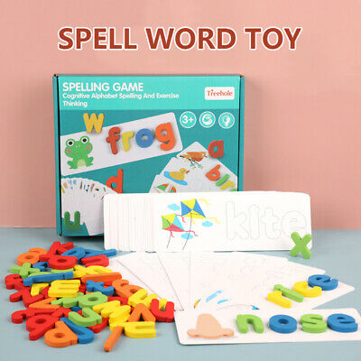 Wooden Cardboard English Spelling Alphabet Game Educational Early Education Toy • 11.89£