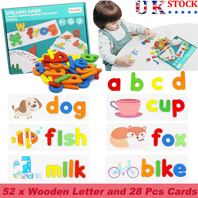 Early Education English Spelling Toys Wooden Cardboard Alphabet Game Educational • 7.99£