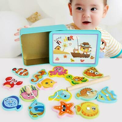 Wooden Magnetic Fish Toys Kids Educational Fishing Magnet Puzzle Game Gifts UK • 6.79£