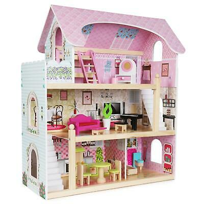 Boppi 3 Floor Wooden Toy Dolls House With 16 Furniture Accessories New • 64.99£