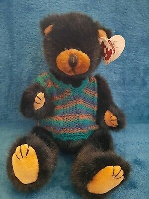 Rare TY Beanies - Attic Treasures Boris Black Bear With Tag- Retired 12  Jointed • 14.99£