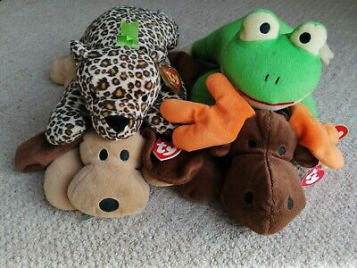 Ty Pillow Pals X4 Job Lot - Antlers, Ribbit, Woof And Speckles - New With Tags • 14.99£