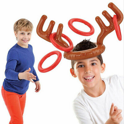 Christmas Inflatable Reindeer Antler Ring Toss Game Xmas Family Fun Party Toys • 3.99£