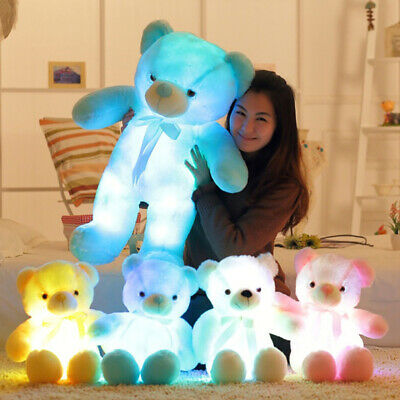 Light Up LED Teddy Bear Doll Stuffed Animals Plush Soft Toys Kids Xmas Gils Gift • 13.23£