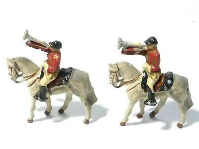 2 ROYAL TRUMPETERS Lead Solider Toys Play Worn Removable Horseback #4 • 18£