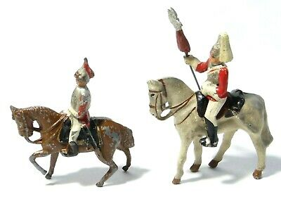 2 Lead Solider On Horses Toys Play Worn FIXED & REMOVEABLE #10 • 12£