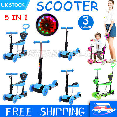 3/5 In 1 Kids Scooter Flashing Wheels Child Toddler Kick Scooters Adjust Seat UK • 21.89£