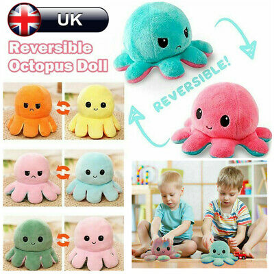 Kids Double-Sided Flip Reversible Octopus Plush Toy Squid Stuffed Doll Toys UK • 4.99£