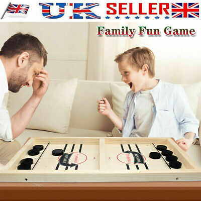 Wooden Hockey Game Table Game Sling Puck Game Family Fun Game Interactive Toy UK • 9.99£