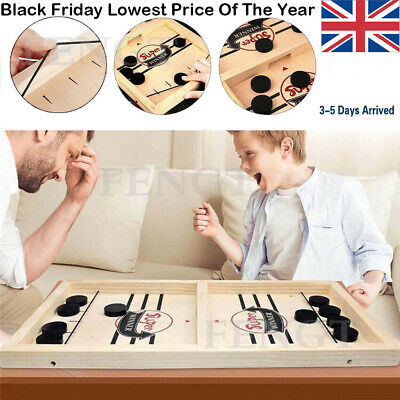 Wooden Hockey Game Table Game Family Fun Game Parent Child Interactive Toy • 9.99£