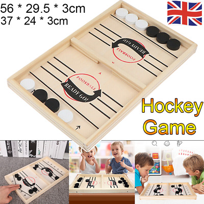 Wooden Hockey Game Sling Puck Game Table Game Family Fun Game  Christmas Toy UK • 9.99£