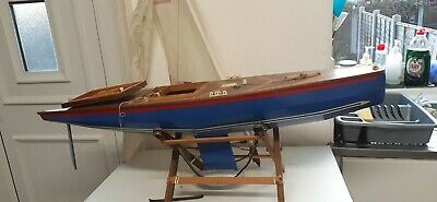 Vintage Large R.c. Wooden Hulled Pond Yacht • 75£