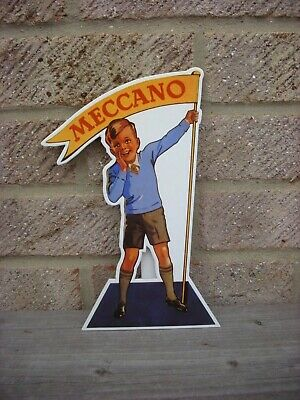 Card Toy Shop Advertising Sign For Meccano Ltd Construction Toys Boy And Flag • 2.99£
