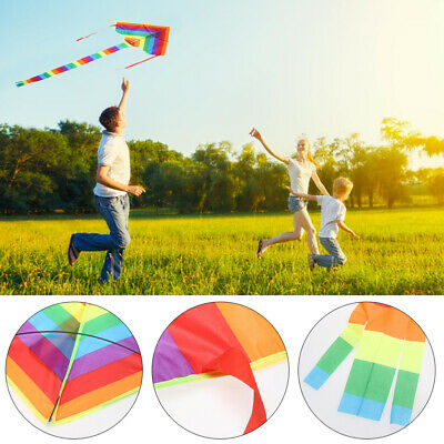 Colorful Rainbow Kite Long Tail Nylon Outdoor Kites Flying Toy For Children • 4.27£