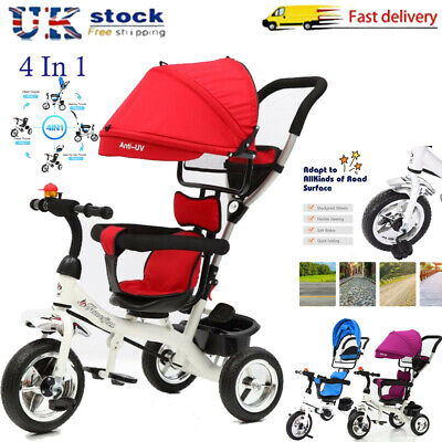 4-in-1 Baby Kids Ride On Trike Tricycle Toddler 3 Wheels Bike W/Canopy & Push🌲 • 49.99£