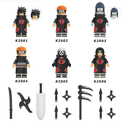 6 Mini Figures NARUTO Uchiha Sasuke Weapon Anime Toys Fits Lego Building Blocks • 11.98£