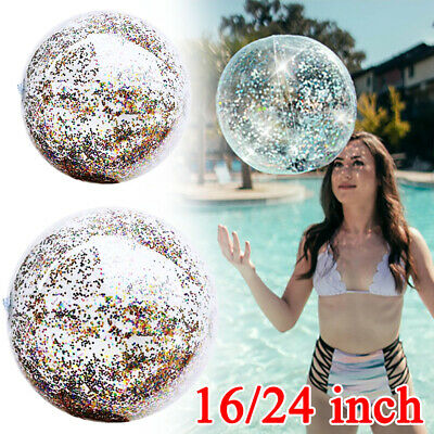 1 X Inflatable BEACH BALL Glitter Confetti Swim Pool Water Games For Adult Kids • 5.69£