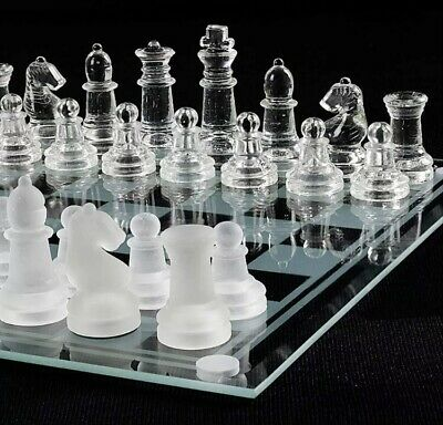 GLASS BOARD TRADITIONAL CHESS SET GAME UNIQUE Gift 32 PIECES 20cm X 20cm • 14.99£