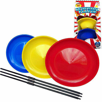 Spinning Plates Set Of 3 With Sticks Outdoor Jugglings Circus Game Toys • 5.60£