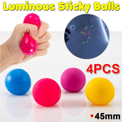 4PCS Luminescence Sticky Balls For Ceiling Stress Relief Globbles Sticky Ball UK • 4.18£