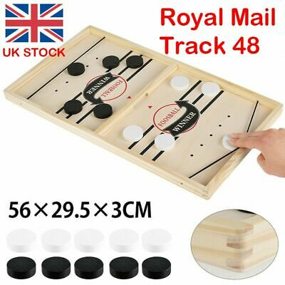 Large Family Game Fast Sling Puck Game Hockey Game Wooden Board Table Toy Gifts • 13.99£