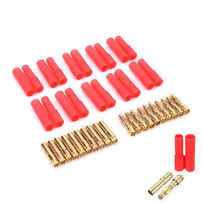 UK_10.pack HXT 4mm Bullet Banana Plugs With Red Housing For RC Connector   Kw • 5.70£