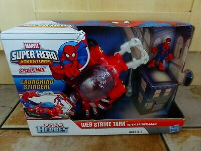 Web Strike Tank With Spiderman Figure Marvel Super Heroes Playskool Hasbro RARE • 44.95£