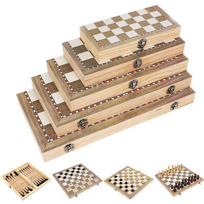 Large Chess Wooden Set Folding Chessboard Pieces Wood Board UK B • 26.99£