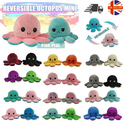 Funny Double Sided Flip Reversible Octopus Cute Plush Toys Animals Doll Gift UK • 4.85£
