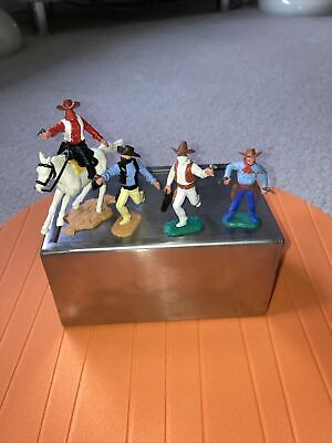 Timpo Cowboy Sheriff & 3 Outlaws Bandits (1 Mounted) • 99£