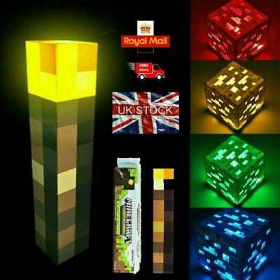 Torch LED Minecraft Hand Held Or Wall Mount Light Up Flashlight Toys Kid Gift UK • 12.48£