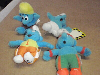 4 X Smurfs 2000 Mcdonalds Happy Meal Toy UK - Soft Plush Toy  • 5£