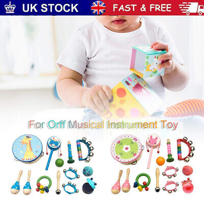 13 Piece Musical Instruments Children's Toy Set Drum Trumpet Maracas Tambourine • 16.59£