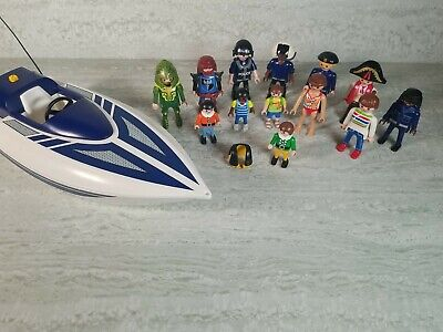 Playmobil Figure Bundle With Police Speed Boat • 11.99£