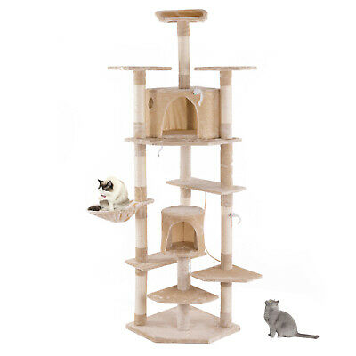 80  Multi-Level Cat Tree Cat Tower With Condo Beige • 62.99£