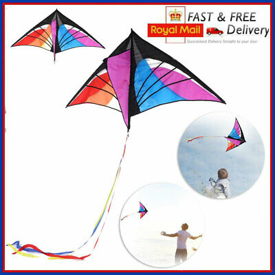 Colorful Triangle Kite Single Line Kite Outdoor Games And Activities W/30M Line • 12.69£