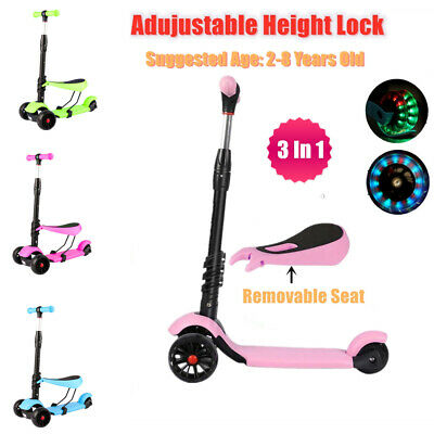 Kids Child Kick Push Scooter 3 Wheels LED Flashing Boys Girls Scooter With Seat • 15.99£