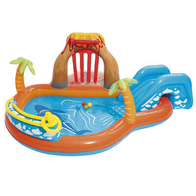 Bestway Lava Lagoon Play Centre Pool Water Slide Outdoor Inflatable Cushion • 50.99£