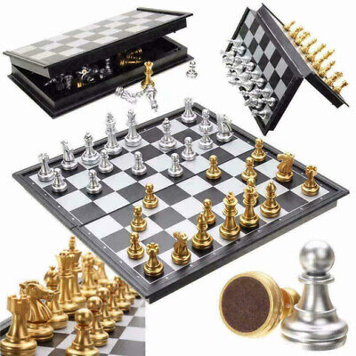 Large Chess Wooden Set Folding Chessboard Magnetic Pieces Wood Board UK • 18.99£