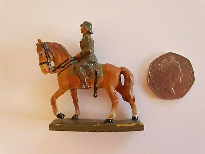 RARE LINEOL ELASTOLIN MOUNTED OFFICER 4cm SCALE PRE WWII • 24.99£